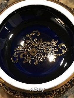 Beautiful Limoges Vanity Lot Set Cobalt Blue Trinket Box Dish With Girl Statue