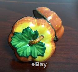 Beautiful Vintage Limoges Chamart Pumpkin Peint Mein Trinket Box