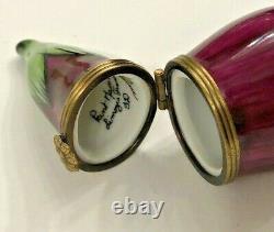 Beautiful Vintage Limoges Eggplant Peint Mein Trinket Box