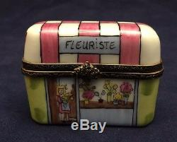 Beautiful Vintage Limoges France Trinket Box LE FLEURISTE Flower Store