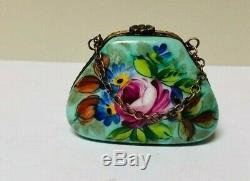 Beautiful Vintage Limoges Lady's Purse & Chain Flowers Peint Mein Trinket Box