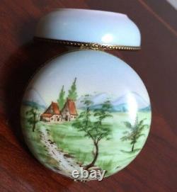 Beautiful Vintage Limoges Landscape Scene Paint Mein Trinket Box