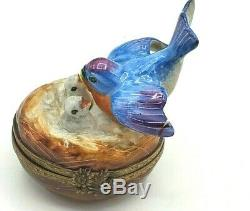 Blue Bird with Chicks Limoges box RETIRED