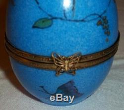 Blue Peint Main Limoges France Butterfly Egg Music Trinket Box With Bunny Inside