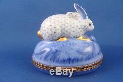 Bunny Rabbit Fishnet Pattern authentic French LIMOGES box