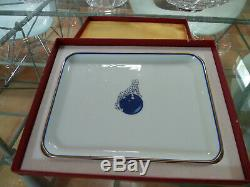 CARTIER'Panther on Blue Ball' Limoges Porcelain Trinket Tray