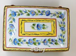 Camille Le Tallec Hinged Box with Blue Vine Flowers, Larger 5 box, 1982 Paris