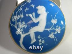 Camille Tharaud Limoges France Cobalt Blue Round pâte-sur-pâte box 1920s