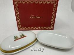 Cartier Limoges Trinket Tray Box Two Dalmatians Gold Trim La Maison de Cartier