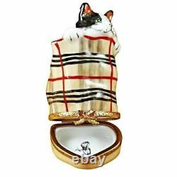 Cat In Burberry Bag Limoges Porcelain Figurine Boxes Authentic Imports
