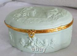 Chamart Limoges France Cherubs & Maidens Repousse Large Celadon Dresser Box