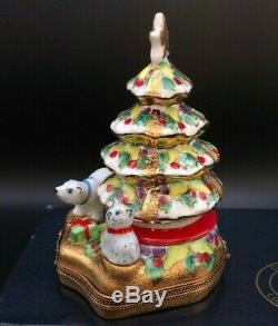 Chamart Peint á la main Limoges France Christmas Tree Trinket Box Holiday