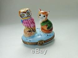 Charmart Peint Main Limoges France Cat and Owl Trinket Box Signed