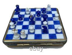 Checkmate Chess Set Limoges France Peint Main Trinket Box
