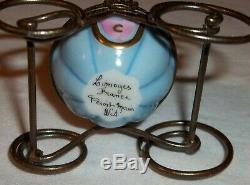 Cinderella Blue Pumpkin Royal Carriage Coach Peint Main Limoges Trinket Box