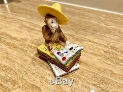 Curious Monkey Sitting On Book Limoge Box