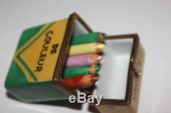 DATED Limoges Rochard Crayons De Couleur Trinket Box 1996 Signed with Crayons