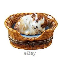 DREAMING DOG IN BASKET NEW Limoges Boxes Porcelain Trinket Snuff Box France