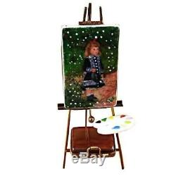 EASEL RENOIR A GIRL WITH WATERING CAN NEW Limoges Porcelain Box Imported from