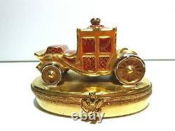 EXCELLENT Faberge Red ROYAL COACH Peint Main Limoges Trinket Box Made France