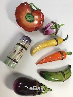 EXQUISITE LOT Of 7 LIMOGES TRINKET BOXES (Peint Main) Flowers, Fruits, Veggies