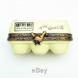Egg Carton with'Surprise' Egg Limoges Trinket Box