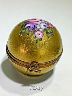 Elegant Gold Tone & Floral Round Ball Limoges France Trinket Box