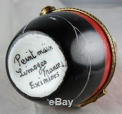 Eximious Limoges Santa Peint Main Trinket Box