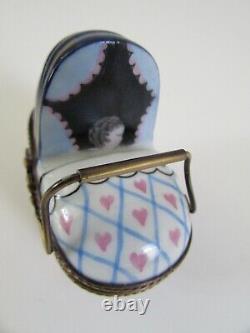 Eximous Peint Main Limoges France Blue Baby Carriage Pram Trinket Box