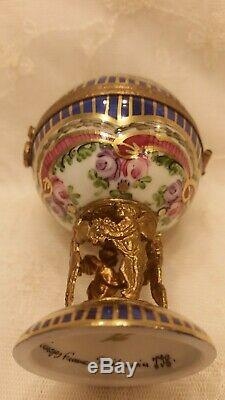 Exquisite Limoges France Hand Painted Roses Cherubs Hot Air Balloon Trinket Box