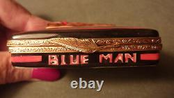 Exquisite Vintage Hand-painted Fancy Blue Man Box Of Cigars Limoges Trinket Box