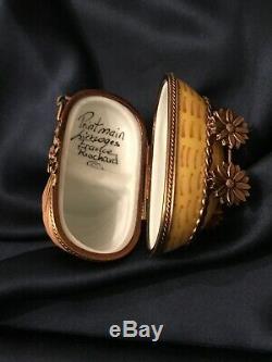 FAB! Rare! Vintage Limoges Rochard Peint Main Baby Carriage Trinket Box