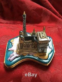 FLAWLESS Stunning LIMOGES Peint Main Trinket Box FRANCE DECO PARIS NOTRE DAME