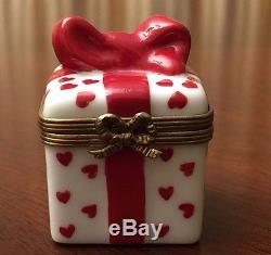 Fabulous Limoges Gift Box with Red Hearts & Red Bow