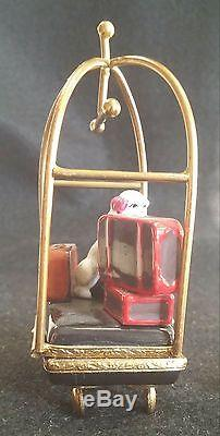 France Limoges Box Bellman Cart With Dog New