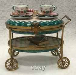 France Peint Main Limoges Trinket Box Tea Cart Mint