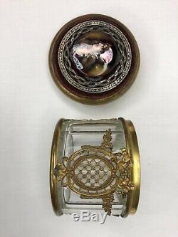 French Crystal and Ormolu Trinket Box With Limoges Enamel Portrait