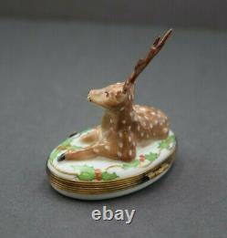 French Limoges Enamel Trinket Box + Deer with Ivy + Porcelain Hand Painted +