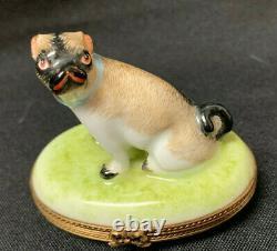 French Limoges Pug Dog Trinket Box Brown Black on Green Base Cute