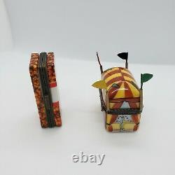 French Limoges Trinket Circus Tent Box and Borden Cracker Jack Box Lot of 2