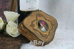 French antique Louis XVI Jewelry trinket box porcelain miniature lady limoges