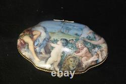 French porcelain Limoges Box putti cherub romantic 1950