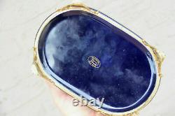 French vintage limoges cobalt blue victorian scene porcelain box marked