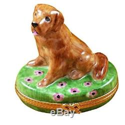 GOLDEN RETRIEVER ON FLOWERS NEW Limoges Porcelain Box Imported from France