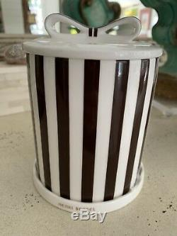 GORGEOUS Iconic HENRY BENDEL Porcelain 3 Piece striped candle Cover Mint W Tags