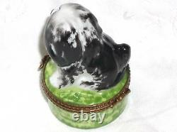 GR Limoges Hand Painted Porcelain Black and Gray Bearded Collie Dog Trinket Box