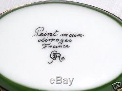GR Limoges Hand Painted Porcelain Limoges Schnauzer Airedale Dog on Trinket Box