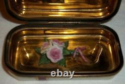 Gold Ribbon Porcelain Flowered Peint Main Rochard Limoge France Trinket Box CC