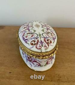 Gorgeous 1966 Le Tallec Limoges Oval Jewelry Trinket Box 7.25 x 3.5 Gilt Clasp