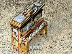 Gorgeous Peint Main Limoges France CL Figural Violin Piano Trinket Ring Box